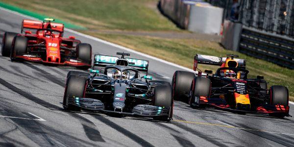 Leclerc, Hamilton y Verstappen, en el GP de Austria de 2019.