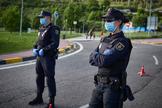 Control de la Policia Nacional durante la pandemia, en Pamplona.