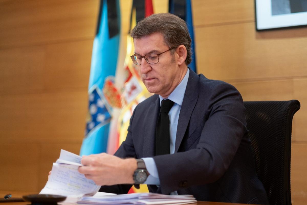 El presidente de Galicia, Alberto Núñez Feijóo, este domingo, en la conferencia de presidentes.