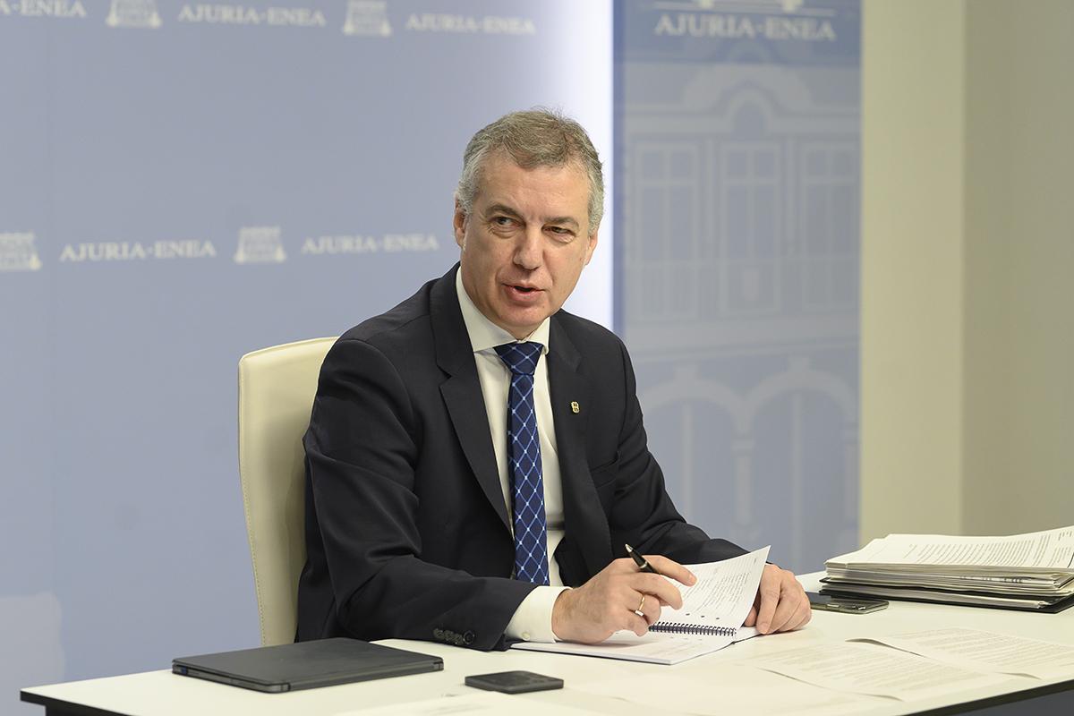 El 'lehendakari' Iñigo Urkullu, este domingo, en la conferencia de presidentes.