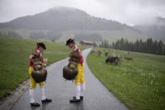 Dos hombres con cencerros tradicionales en una granja en los Alpes.