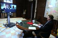 El president de la Generalitat, Ximo Puig, en una videoconferencia reciente.