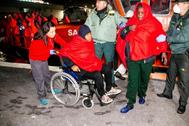 Llegada al puerto granadino de Motril de los 64 inmigrantes rescatados el pasado 7 de febrero.