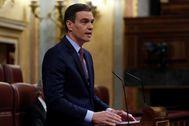 Pedro Sánchez, durante el debate sobre la prórroga del estado de alarma.