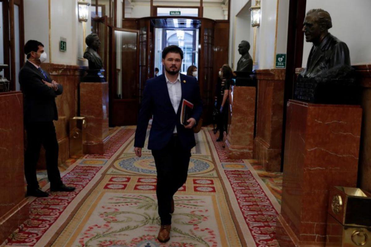 Gabriel Rufián, a su llegada al Congreso.