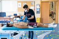 Manu Trigueros, durante el reconocimiento médico.