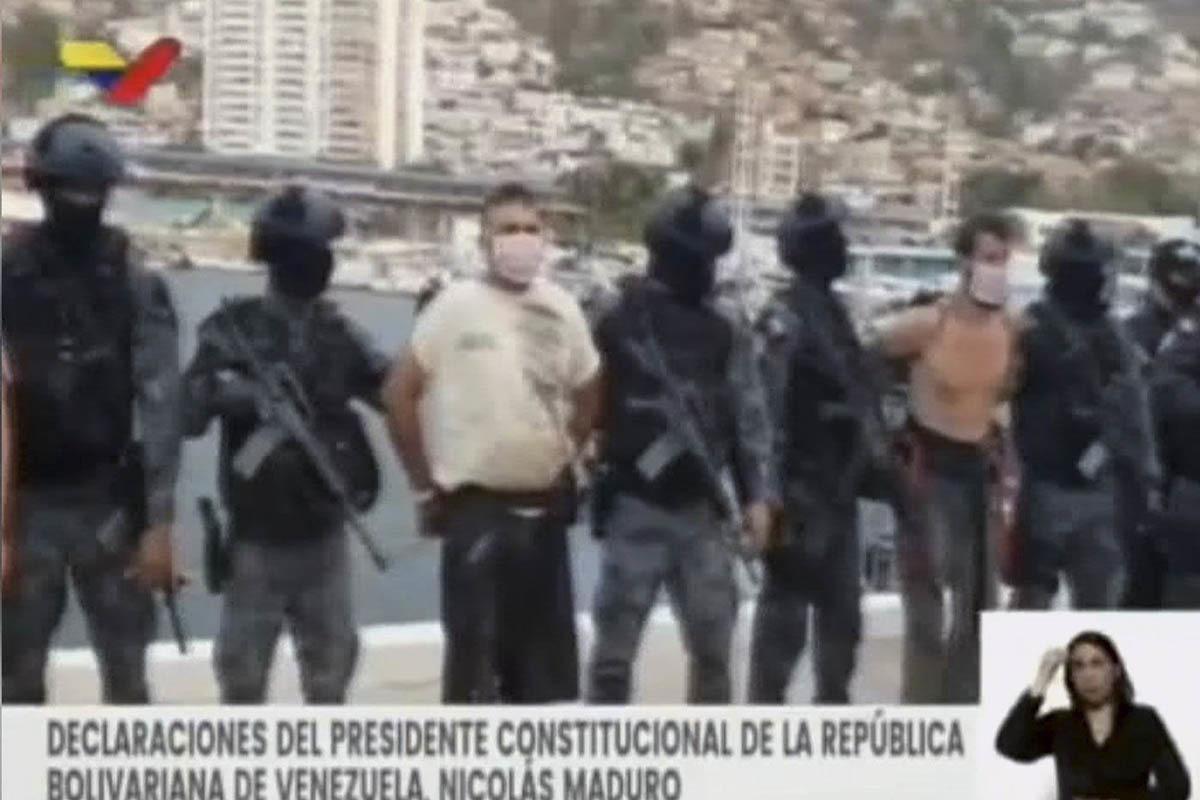 La televisión venezolana muestra a dos de los detenidos.