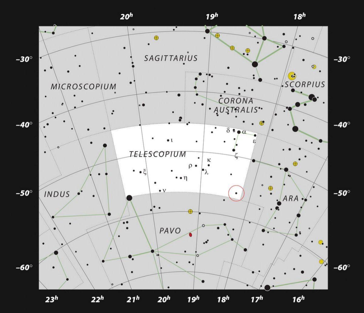 El agujero negro está en la constelación de Telescopium