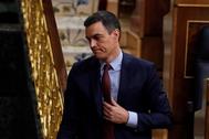 El presidente del Gobierno, Pedro Sánchez, este miércoles, a su salida del hemiciclo del Congreso.