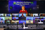 Imagen de la conferencia telemática de los Balcanes con Ursula von der Leyen.
