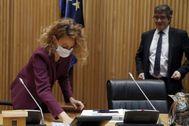 Meritxell Batet y Patxi López, en la Comisión para la Reconstrucción.