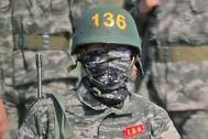 Heung-Min Son, durante su servicio militar en Corea del Sur.