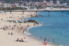 Aspecto de la playa de Badalona este jueves.