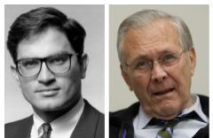 Michael L.Riordan (izquierda) y Donald Rumsfeld