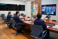 El presidente del Gobierno, Pedro Sánchez, en vídeoconferencia.