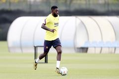 Samuel Umtiti, durante el entrenamiento de este sábado.
