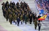 Los 169 atletas de la delegación española desfilando en la ceremonia de inauguración de los Juegos Militares en Wuhan.