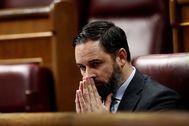 El líder de Vox, Santiago Abascal, durante un pleno reciente en el Congreso.
