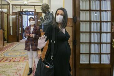 Inés Arrimadas, a su llegada este miércoles al Congreso.