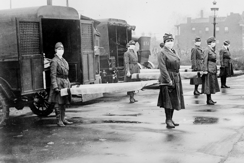 Voluntarias de la Cruz Roja en San Luis, durante la epidemia de gripe española.