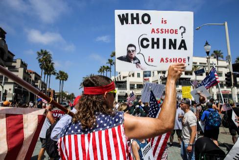Manifestación para la reapertura económica de California.