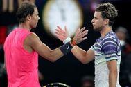 Nadal y THiem, tras su semifinal del último Open de Australia.