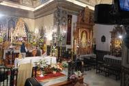 La Virgen del Rocío en la parroquoa de Almonte.