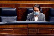 El vicepresidente segundo, Pablo Iglesias, en el pleno del Congeso.