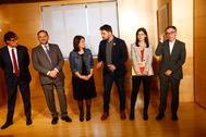 De izqda. a dcha., Salvador Illa, José Luis Ábalos, Adriana Lastra, Gabriel Rufián, Marta Vilalta y Josep Maria Jove, el 28 de noviembre de 2019, en el Congreso.