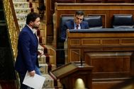 Gabriel Rufián y Pedro Sánchez en el Congreso.