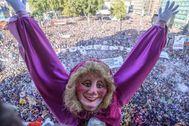 Maria Jaia, el icono de la fiestas de Bilbao, en el arranque de la Semana Grande de la capital vizcaína.