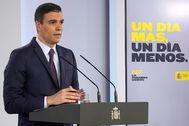 Pedro Sánchez, presidente del Gobierno, este sábado en la rueda de prensa desde Moncloa.