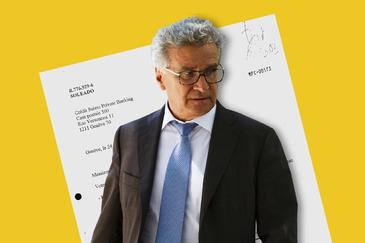 Arturo Gianfranco Fasana, de 64 años. Detrás, documento de la cuenta 'Soleado'.