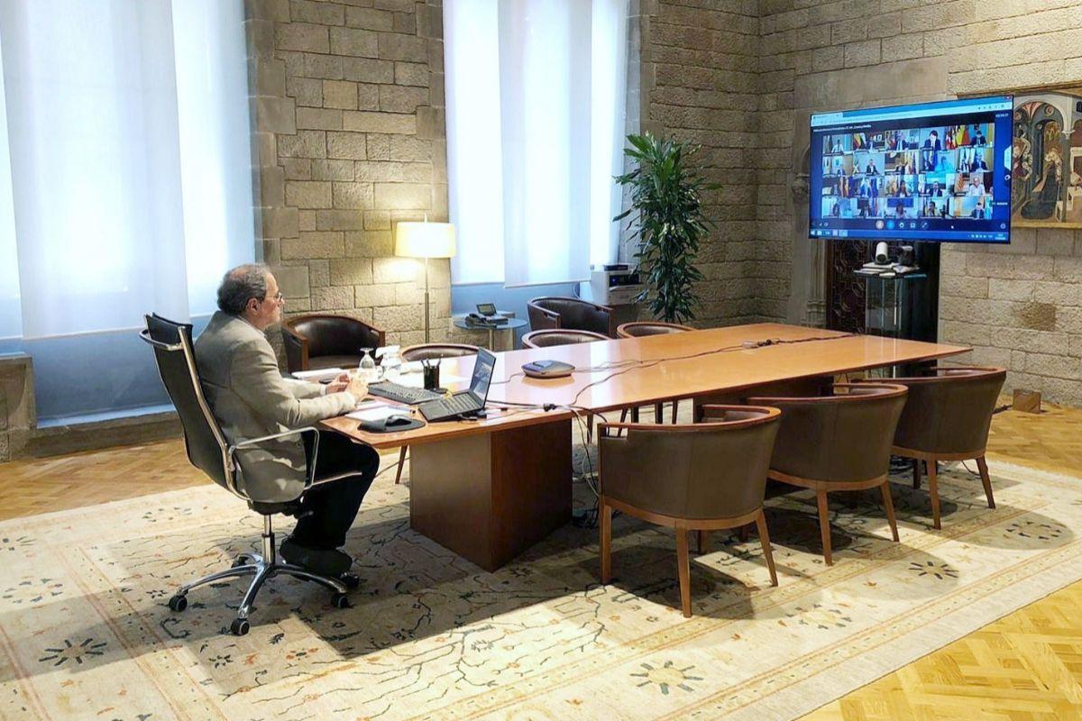 El presidente de la Generalitat, Quim Torra, durante la reunión.