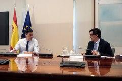 Pedro Sánchez y el ministro de Sanidad Salvador Illa, durante la reunión por videoconferencia con los presidentes autonómicos.