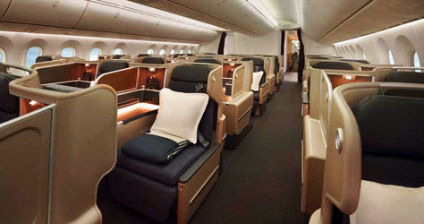 Interior de una clase Business de Qantas.