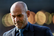 VIGO, SPAIN - MAY 18: Paco Jemez the manager of lt;HIT gt;Rayo lt;/HIT gt; lt;HIT gt;Vallecan lt;/HIT gt; looks on prior to the La Liga match between RC Celta de Vigo and lt;HIT gt;Rayo lt;/HIT gt; lt;HIT gt;Vallecano lt;/HIT gt; de Madrid at Abanca Balaidos Stadium on May 18, 2019 in Vigo, Spain. (Photo by Quality Sport Images/Getty Images)