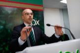 El portavoz nacional de Vox, Jorge Buxadé, en una rueda de prensa.