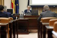 El gobernador del Banco de España, Pablo Hernández de Cos, comparece ayer en el Congreso.
