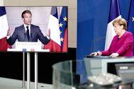 El presidente francés, Emmanuel Macron, y la canciller alemana, Angela Merkel.