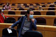 El vicepresidente segundo, Pablo Iglesias, este martes en el Senado.