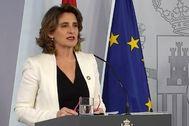 La vicepresidenta cuarta y ministra para la Transición Ecológica y el Reto Demográfico, Teresa Ribera, tras el Consejo de Ministros