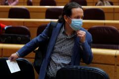 GRAF7893. MADRID.- El vicepresidente segundo y ministro de Derechos Sociales y Agenda 2030, Pablo lt;HIT gt;Iglesias lt;/HIT gt;, a su llegada a la sesión de control al Gobierno en el Senado, este martes en Madrid.
