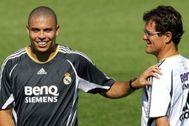 Ronaldo y Capello, en un entrenamiento del Real Madrid.