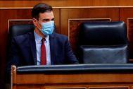 Pedro Sánchez, con mascarilla, al inicio del debate sobre el estado de alarma.