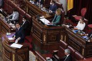 Pedro Sánchez, durante su intervención desde la tribuna de oradores.