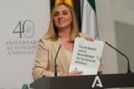 La consejera de Fomento, Marifrán Carazo, en la presentación del proyecto.