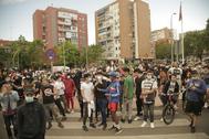 Protestas contra el confinamiento, en Alcorcón (Madrid).