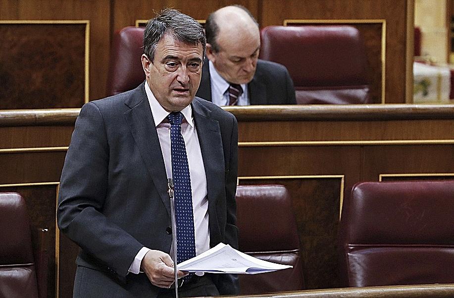 El portavoz parlamentario del PNV, Aitor Esteban, este miércoles, en el Congreso.