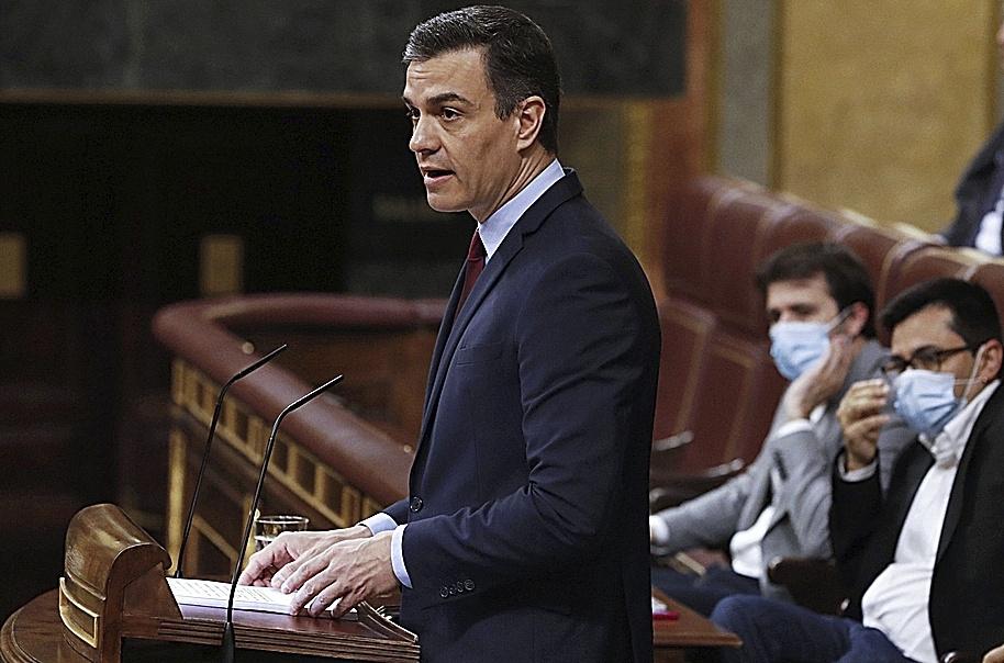 El presidente del Gobierno, Pedro Sánchez, este miércoles, en su intervención en el Congreso.